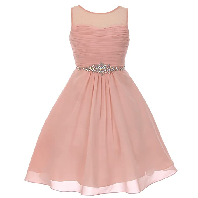 GIRLS PASTEL PINK PEARL TRIM CHIFFON SPECIAL OCCASION PRINCESS PROM PARTY DRESS