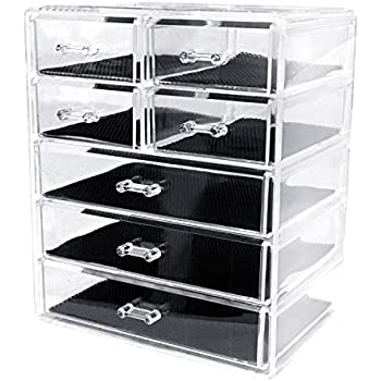 Sodynee Cosmetics Makeup And Jewelry Storage Organizer Case Display Boxes,  3 Large And 4 Small