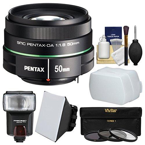 Pentax 50mm f/1.8 DA SMC Lens with 3 UV/CPL/ND8 Filters + Flash + Diffuser + Soft Box + Kit Pentax Box