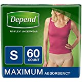Depend FIT-Flex Incontinence Underwear for Women, Maximum Absorbency, S, Tan, 60 Count (Packaging May Vary)