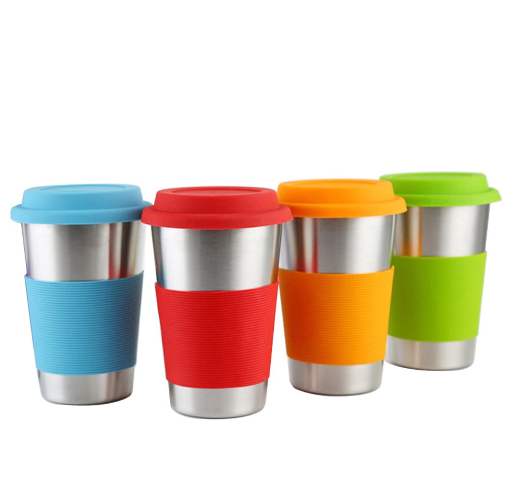 Stainless Steel Pint Cups,recyco 4 of Pack 16 oz Metal Cups for Drinking Tumblers Cups Food Grade Quality, BPA Free for Adults, Kids and Toddlers