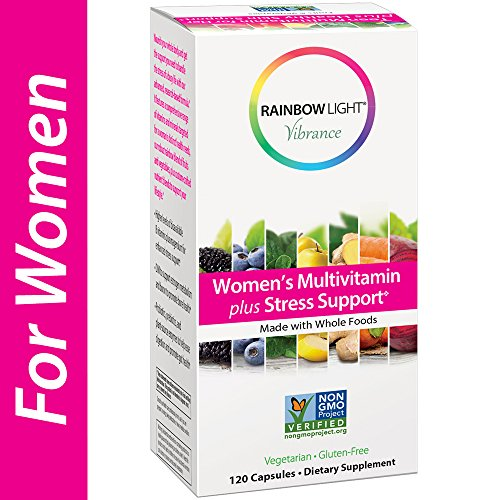 Rainbow Light Vibrance Women's Multivitamin Plus Stress Support, 120 Count Capsules, Dietary Supplement Made with Whole Foods (Diindolylmethane 100 Mg 120 Tabs)