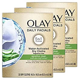 Olay Daily Facials for Clean Sensitive Skin, Makeup Remover Wipes, Soap-Free and Fragrance-Free Cleanser Cloths, 33…
