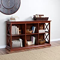 TV Stand Bookcase In Warm Cherry Finish And Six Cubbies