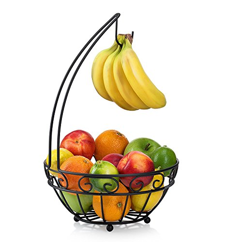 Francois et Mimi Fruit Tree Bowl Basket, Iron, Black (With Banana Hanger)