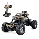 Gizmovine RC Rock Crawler Car 4WD 4 Modes Steering Waterproof 2.4Ghz Radio Control Toy Monster Truck Off Road (1 16 Scale) Brown ZC0006-U2