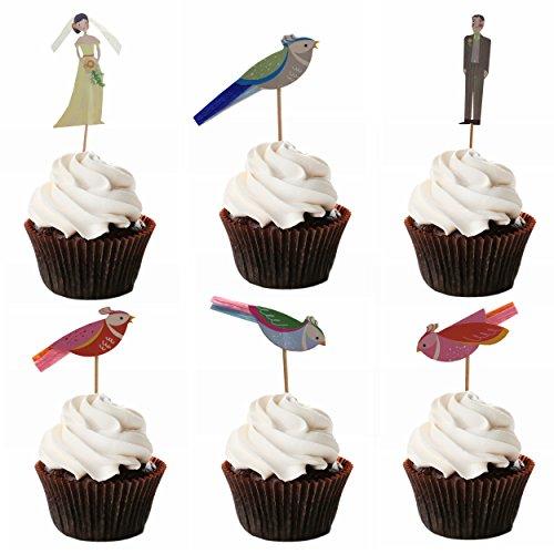 M2cbridge 48 Pack Ballerina Fairy Cupcake Toppers Cupcake Sticks Food Flags for Weddings or Parties (12 Bride+ 12 Groom+ 24 love bird)