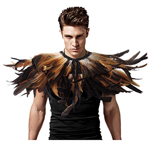 L'vow Gothic Black Feather Shrug Cape Shawl Halloween Costume for Men (Cock -