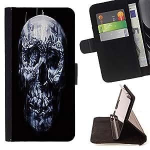 King Art - Premium-PU-Leder-Prima caja de la PU billetera de cuero con ranuras para tarjetas, efectivo Compartimiento desmontable y correa para la mu?eca FOR Sony Xperia Z3 D6653- Skull Devil Pattern Sugar Skull Skulls