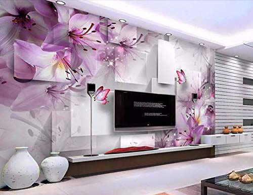Wall Mural 3D Purple Lily Transparent Flower Modern Custom Photo Wallpaper Murals Wall Decor