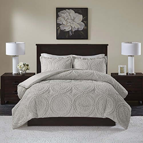 Madison Park Arya Medallion Ultra Plush Comforter Mini Set, King/Cal King, Grey