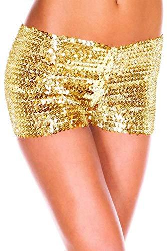 Zabmauek Womens Shorts Low Waist Sequince Bodycon Dancing Mini Short Pants Yellow XL]()