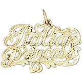 14K Yellow Gold Italian Princess Pendant Necklace - 21 mm
