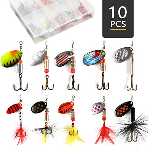Magreel 10pcs Spinnerbait, Bass Trout Salmon Fishing Lures, Hard Metal Spinner Baits with a Tackle Box