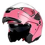 1Storm Motorcycle Modular Full Face Helmet Flip up Dual Visor/Sun Shield Glossy Pink