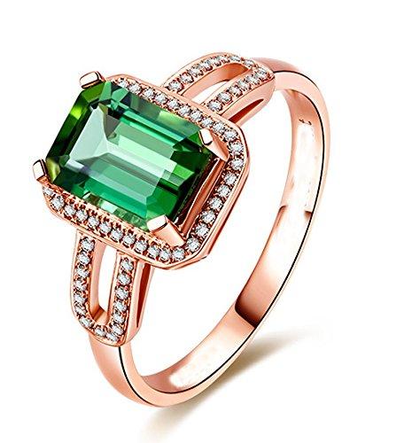 Funda de 2,50 quilates esmeralda y oro rosa con el anillo de compromiso de
