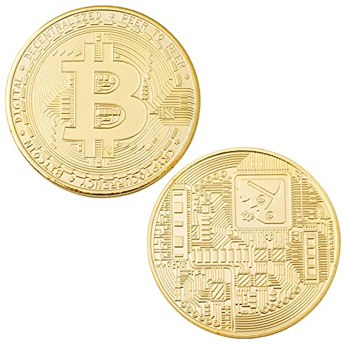 J.CARP Bitcoin (BTC) Commemorative Coin, Featuring Original Commemorative Tokens, Chase Coin, BTC Cryptocurrency Gold Plated Collectible Coin, with Protective Case (Gold, 1PCS)