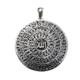 Unique Ster. Silver Cast Shiny Antiqued Large 99 Names of Allah Pendant - Asma ul-Husna Islamic Jewelry