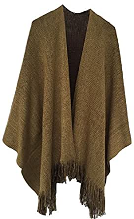 Timemory Womens Winter Solid Knitted Cashmere Poncho Capes Shawl Sweater Khaki Khaki One Size