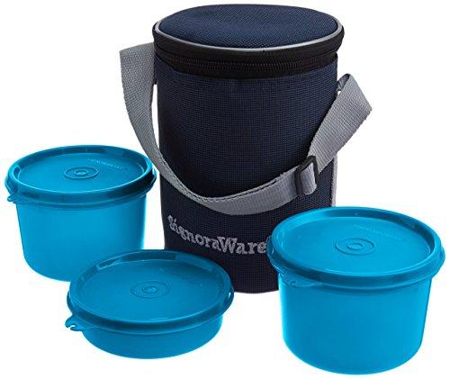 Signoraware Executive Medium Lunch Box with Bag, 15cm, T Blue