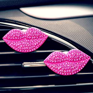 Fabal Car Loving Sexy Gift Air Outlet Fragrant Perfume Clip Lips Freshener Diffuser (Hot Pink)