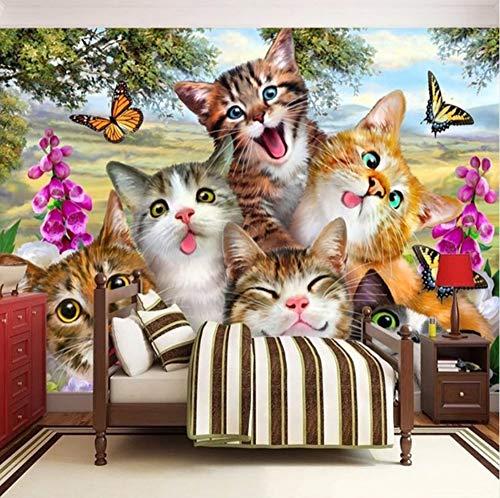 3D Wall Wallpaper Decorations Stickers Murals Cute Cat Self-Portrait Children Room Living Room Background Art Girls Bedroom (W)140X(H)100Cm