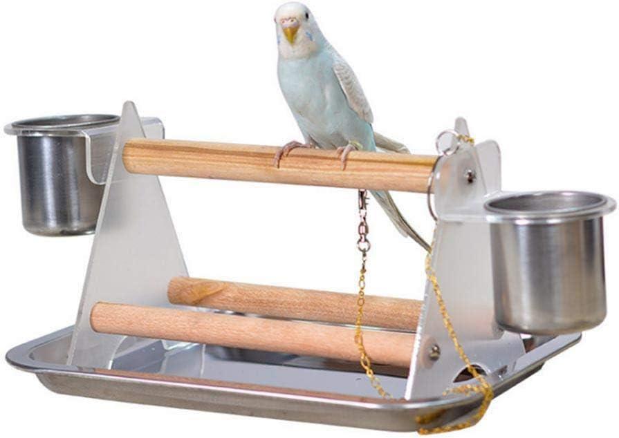 Danigrefinb Giocattolo per Animali Domestici trespolo in Piedi Triangolo mangiatoia per Acqua e Cibo per Uccelli in Legno per pappagalli