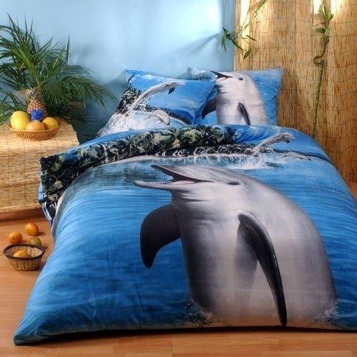 linge de lit dauphin Parure Dauphin   100% Coton   Bleu   Housse de couette 200x200 + 2  linge de lit dauphin