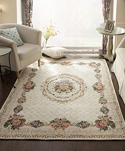 Contemporary Medallion Kashan Red and Beige Traditional Area Rug, Home and Office Floor Decorations 6.6'x8.2' - Rug Classic Kashan Beige