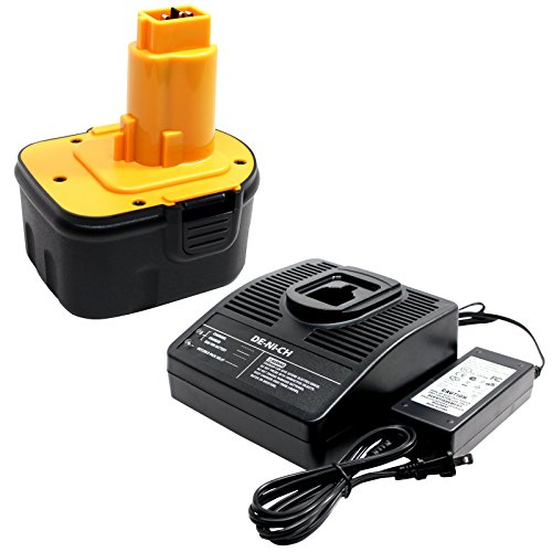 DeWalt DW9072 Battery + Universal Charger for Dewalt - Replacement DeWalt 12V Battery and Charger (1300mAh, NICD)