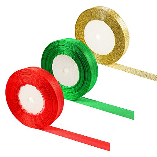 - Aneco 100 Yards 22 mm Christmas Ribbon Wide with 25 Yards 15mm Gold Glitter Metallic Sparkle Ribbon Shimmer Sheer Organza Ribbons for Gift Wrap Wedding Christmas Decoration,3 Rolls, Green, Red and Go