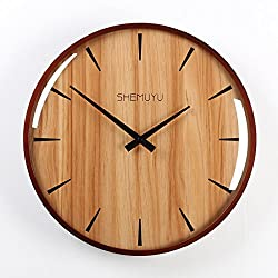 12 Inches Wall Clock Wood Retro Digital Type European Mute Wall Clock Retro Autumn Scenery Clocks Home Decor - Nut-Brown + Glass Type 2