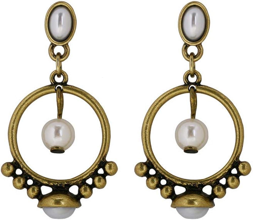 Pendientes De Perlas De Estilo Vintage Mujer Bohemia Pendientes De Anillo De Aleación De Oro Antiguo