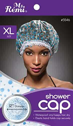 Shower Cap - Blue Dot Pattern, Vinyl material, elastic band, extra large, large, won't fall off your head,