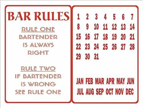 Calendrier Des Regles Always.Signs 2 All C1023 Regles De Barre De Pub En Metal De Style