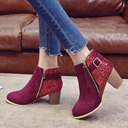 Absatz Schuhe Damenstiefel Stiefeletten Zipper Schwarz Khaki Wein Boots Mode mit Klassische Stiefel Lederstiefel Wein Knöchel E Damen Blockabsatz Stiefel Sonnena High TpvX0Aq