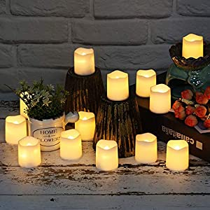 Flameless Votive Candles,Votive Flameless Candles,Flameless Votive Candles Flickering,Tea Light Candles Votive Led Candles in Warm White and Wave Open(Pack of 24)