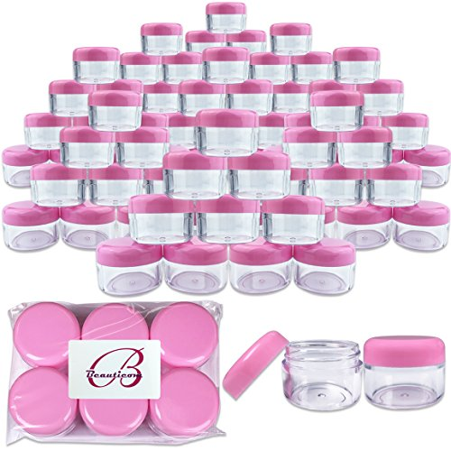 Beauticom 300 Pieces 30 Gram 30ML (1 Ounce) Round Clear Small Jars with PINK Screw Cap Lid for Sampling Scrubs, Oil, Salves, Cream, Ointments, Moisturizers - BPA Free by Beauticom