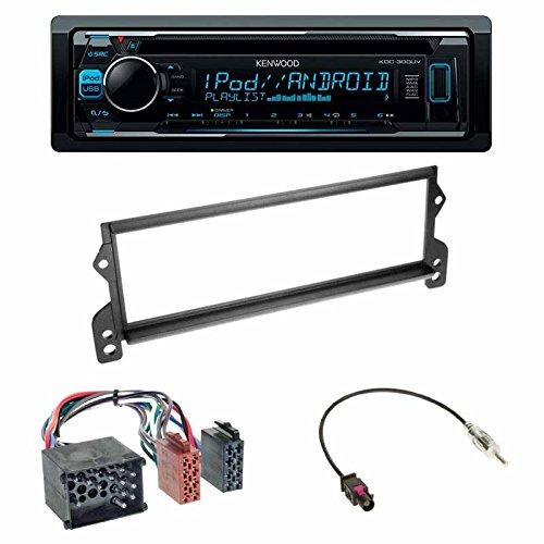 Einbauset : Autoradio Kenwood KDC-300UV CD Tuner + DIN Radioblende Blende schwarz + ISO-Adapter (Rund-Pin) für Mini (R50) 04/2001 - 11/2006 One/Cooper • Mini / Cooper S • Mini (R52) Schlauer-Shop24 KDC-300UV+BM-08