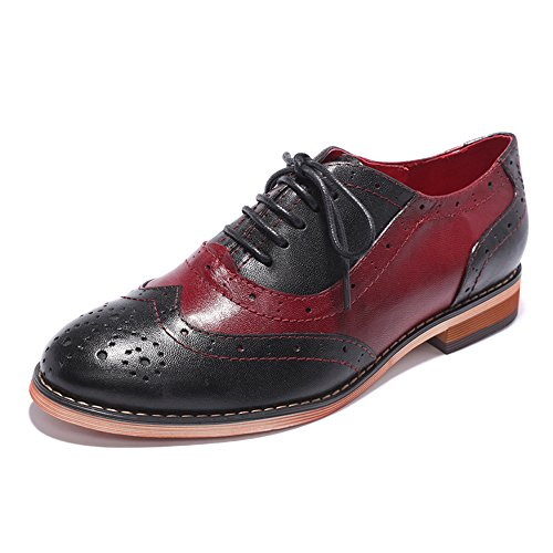 (Mona flying Womens Leather Perforated Brogue Wingtip Derby Saddle Oxfords Shoes for Womens ladis Girls Black-red)