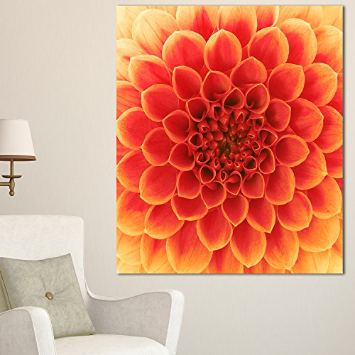 Abstract Orange Flower Design Extra Large Floral Glossy Metal Wall Art