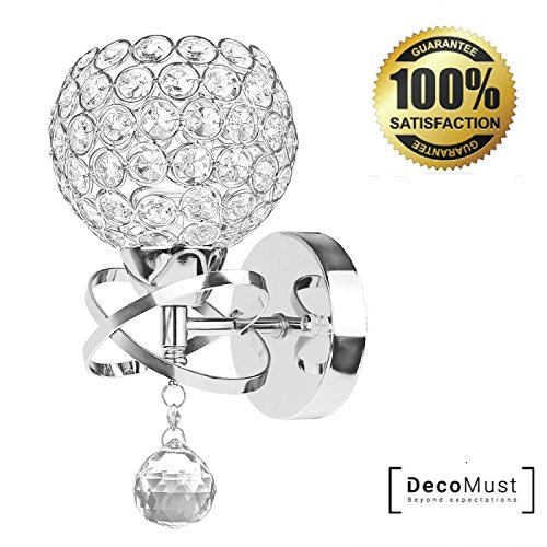 (Decomust Crystal Wall Light Chrome Finish Modern Luxury LED Wall Sconce Lighting Fixture Bedroom Bathroom Lamp (Chrome))