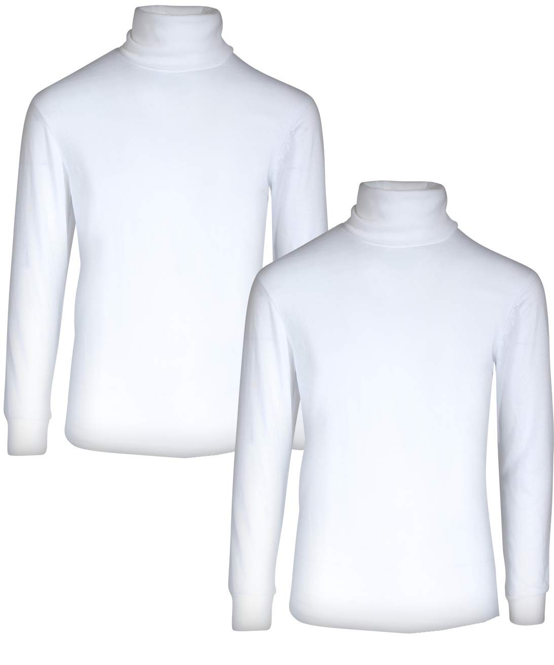 Beverly Hills Polo Club Boy's School Uniform 2-Pack Long Sleeve Turtleneck Shirts, White/White, 4T'