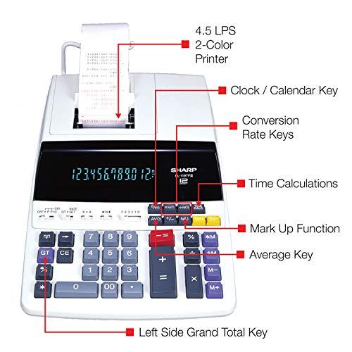 Sharp EL-1197PIII Heavy Duty Color Printing Calculator with Clock and Calendar