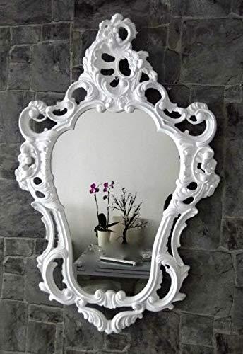 Artissimo Barock Wandspiegel Weiß Barock Oval Hochglanz Jugendstill Badspiegel 50X76 3039