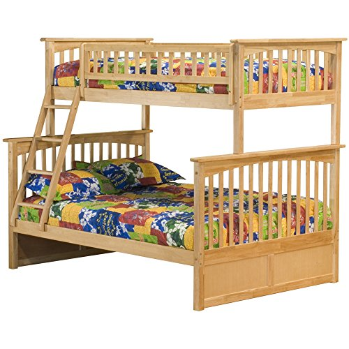 Atlantic Furniture Columbia Bunk Bed, Twin Over Full, Natural (Maple Bunk Bed Twin)