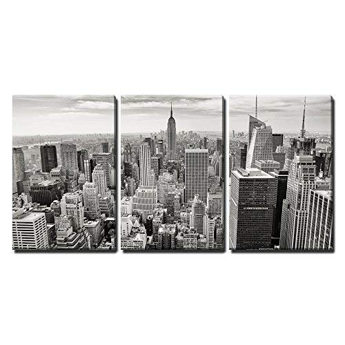 wall26 - 3 Piece Canvas Wall Art - Aerial View of Manhattan, New York City USA - Modern Home Decor Stretched and Framed Ready to Hang - 24