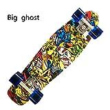 """SOGAR Adult Complete 27"""" Skateboard Penny Style Board Plastic Blue Starry Sky Board,Big ghost head"""