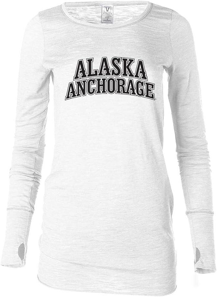 Venley Official NCAA Alaska Seawolves PPUAA009 Womens Long Sleeve Thumbhole Tee