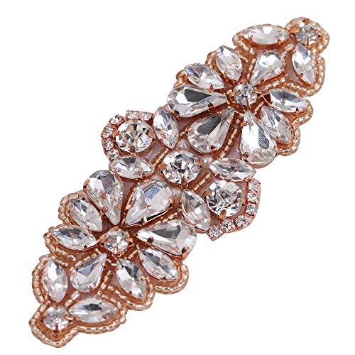 FANGZHIDI Handmade Rose Gold Rhinestone appliqué for Wedding Dress,Beaded Applique Decorative Patches with Sew on Crystals Beads Pearls Embellishment for Bridal Sash Hairpieces Garter Christmas DIY (Dress Princess Sew)